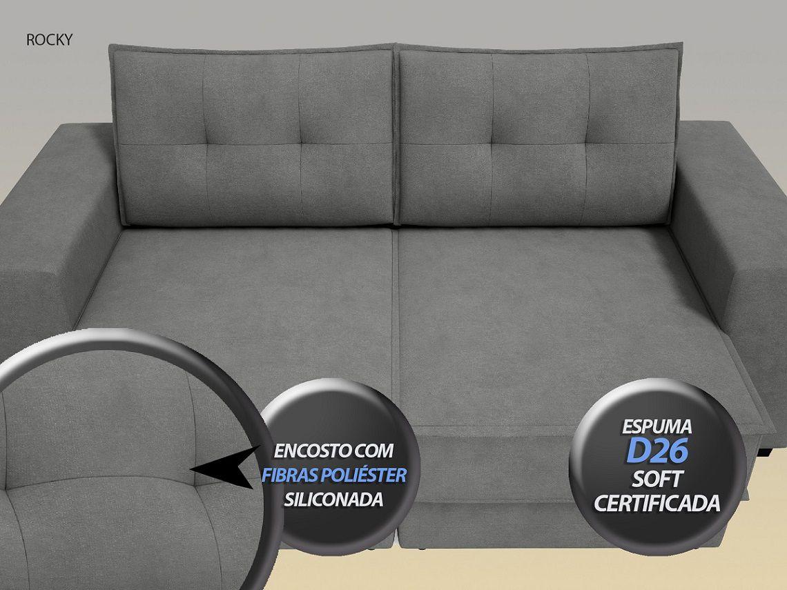 Sofá Rocky  2,01m Assento Retrátil e Reclinável Velosuede Grafite - NETSOFAS