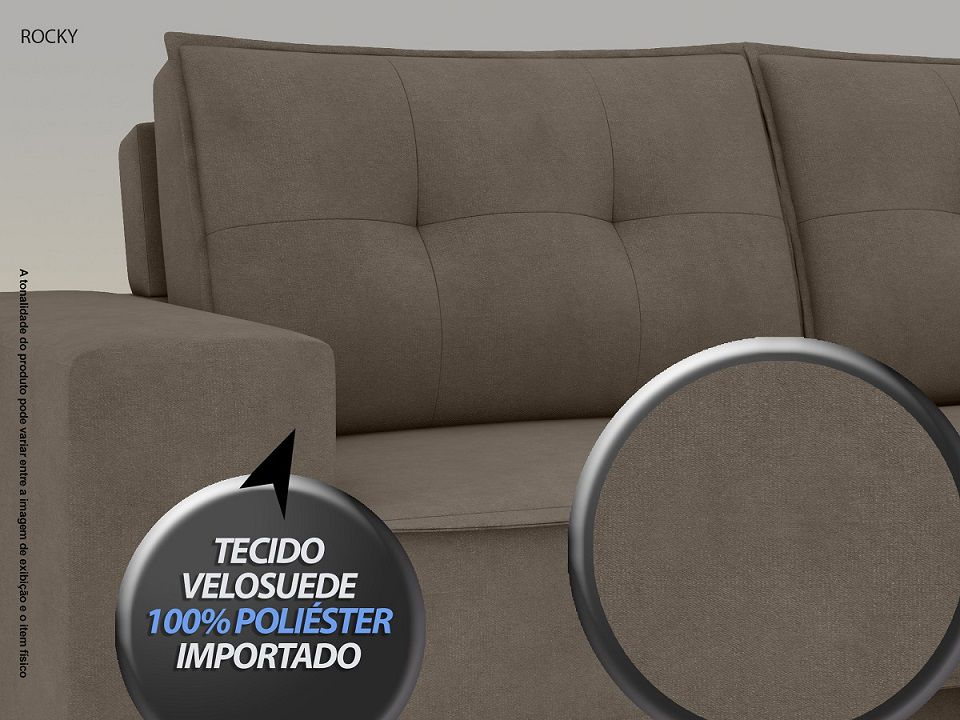 Sofá Rocky  2,01m Assento Retrátil e Reclinável Velosuede Marrom - NETSOFAS