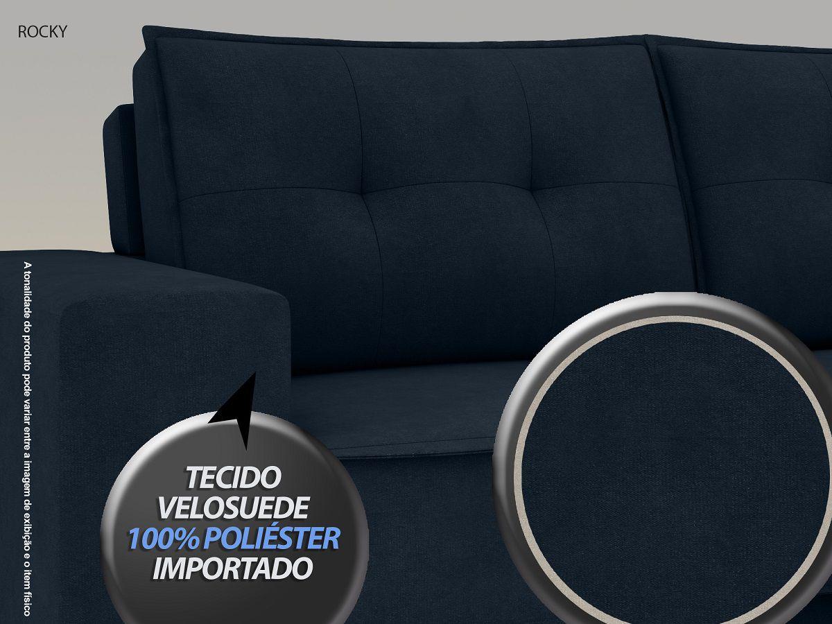 Sofá Rocky  2,01m Assento Retrátil e Reclinável Velosuede Petroleo - NETSOFAS  - NETSOFÁS