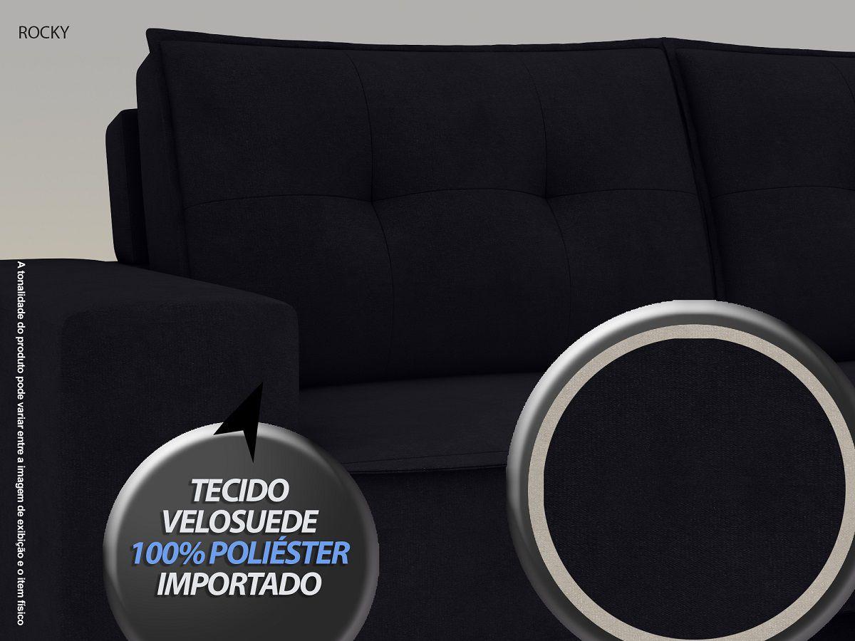 Sofá Rocky  2,01m Assento Retrátil e Reclinável Velosuede Preto - NETSOFAS  - NETSOFÁS