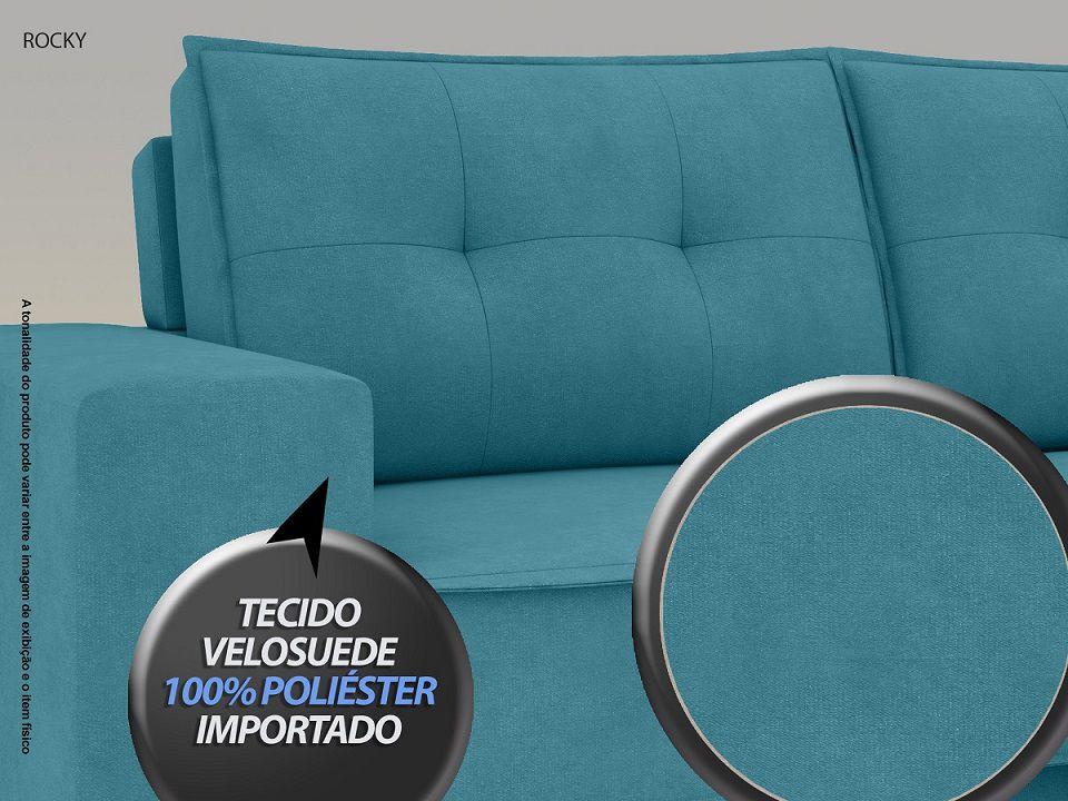 Sofá Rocky  2,01m Assento Retrátil e Reclinável Velosuede Turquesa - NETSOFAS