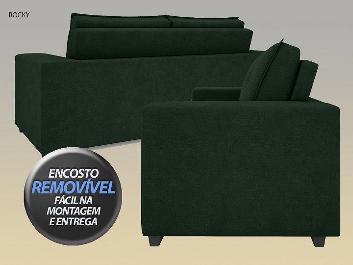 Sofá Rocky  2,01m Assento Retrátil e Reclinável Velosuede Verde - NETSOFAS  - NETSOFÁS