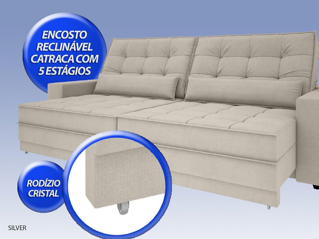 Sofá Silver 2,00m Retrátil e Reclinável Velosuede Areia - NETSOFAS  - NETSOFÁS