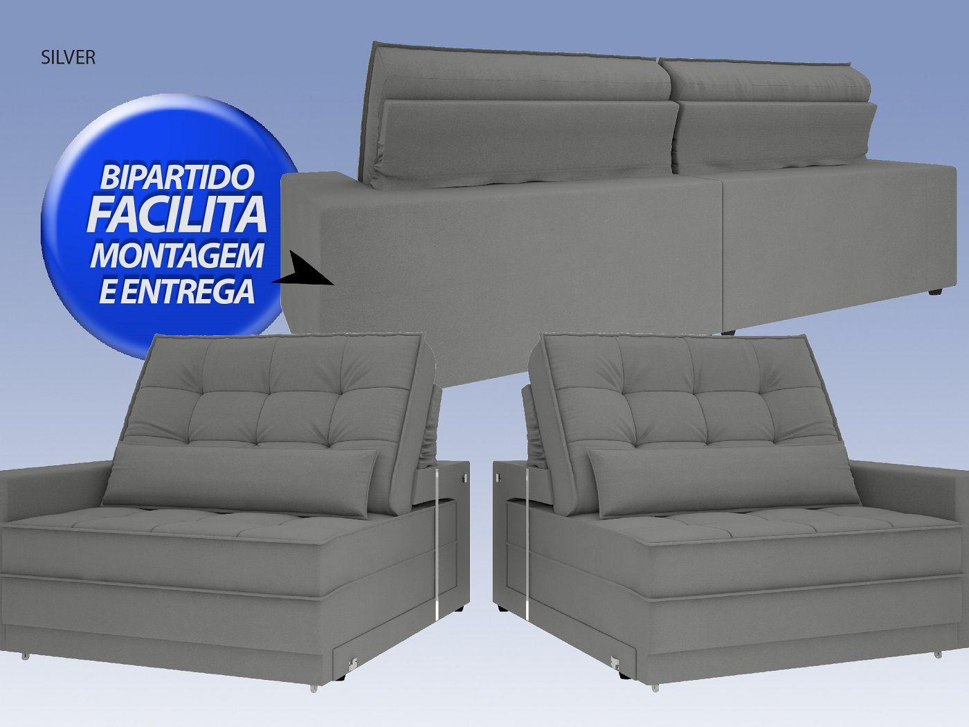 Sofá Silver 2,00m Retrátil e Reclinável  Velosuede Grafite - NETSOFAS