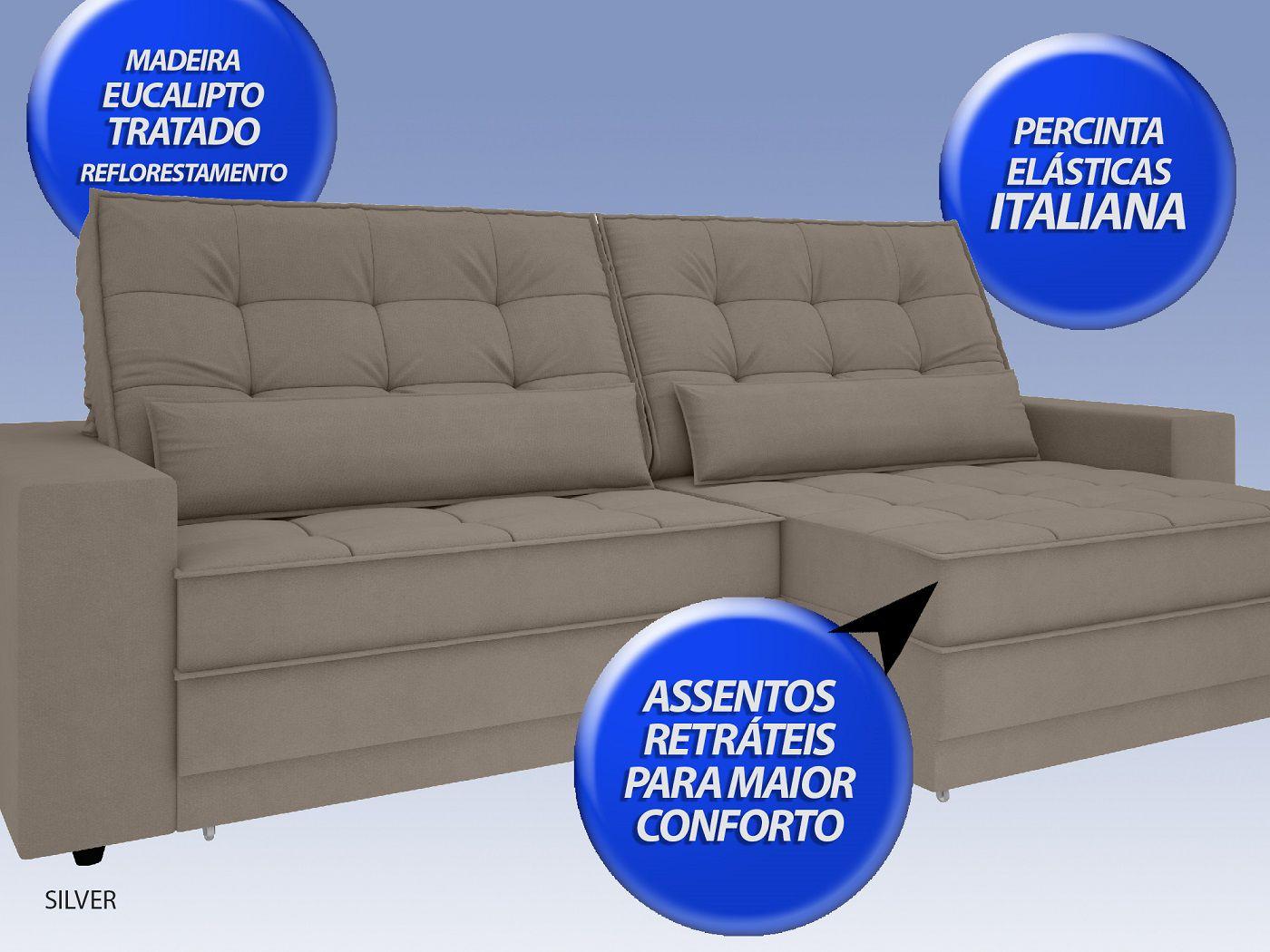 Sofá Silver 2,20m Retrátil e Reclinável Velosuede Bege - NETSOFAS  - NETSOFÁS