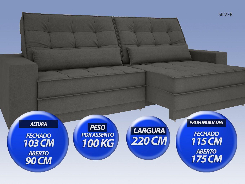 Sofá Silver 2,20m Retrátil e Reclinável  Velosuede Cinza - NETSOFAS