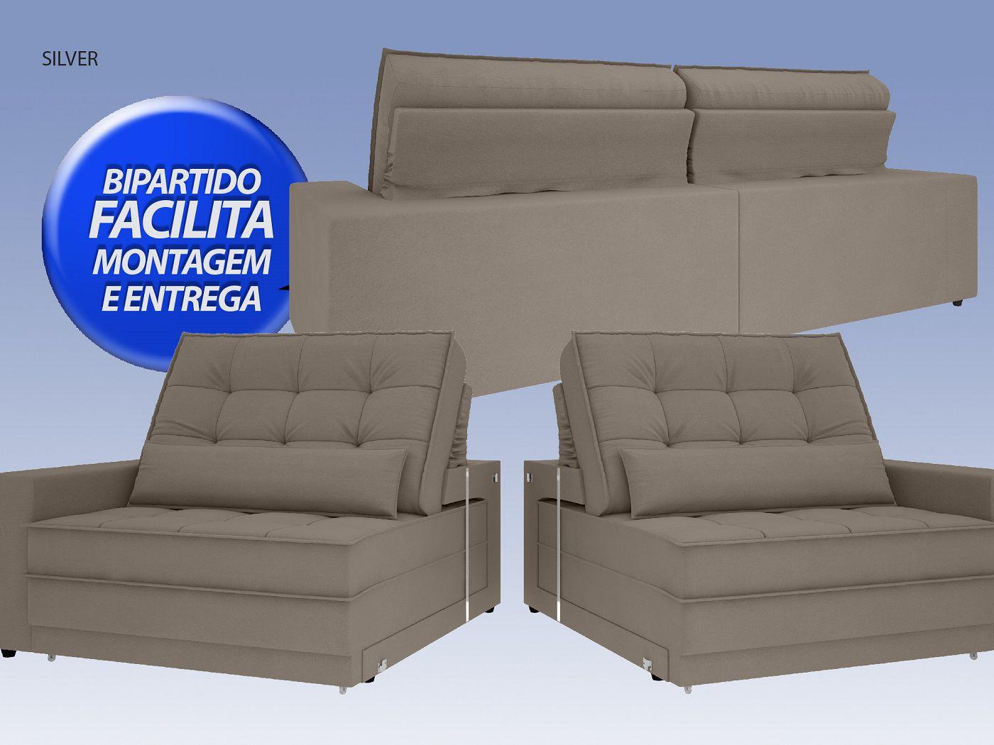 Sofá Silver 2,40m Retrátil e Reclinável Velosuede Bege - NETSOFAS  - NETSOFÁS