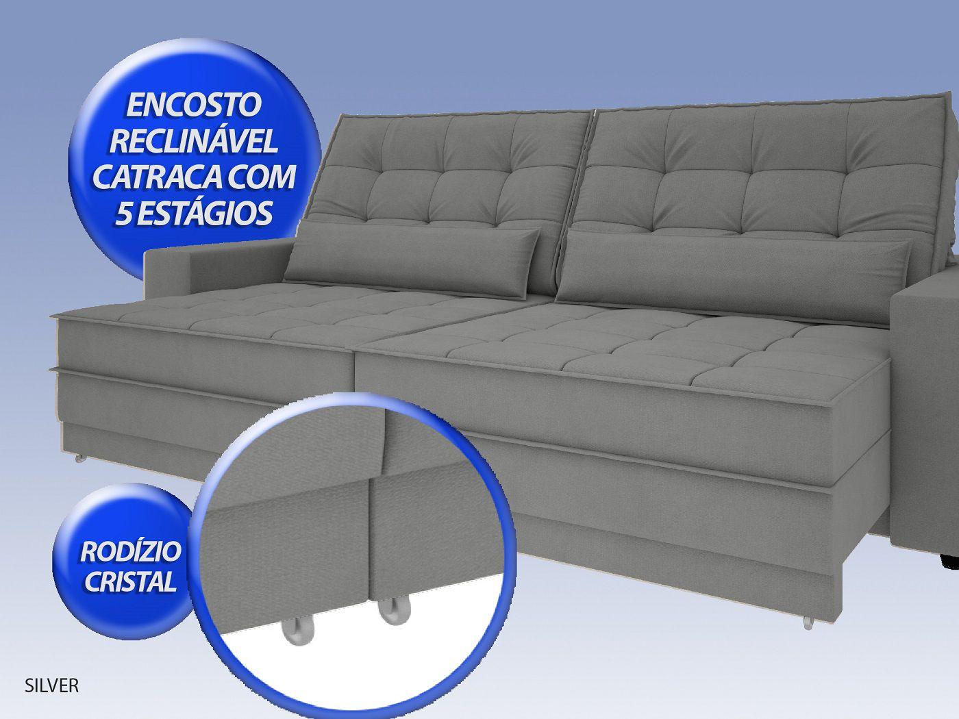 Sofá Silver 2,40m Retrátil e Reclinável Velosuede Grafite - NETSOFAS  - NETSOFÁS