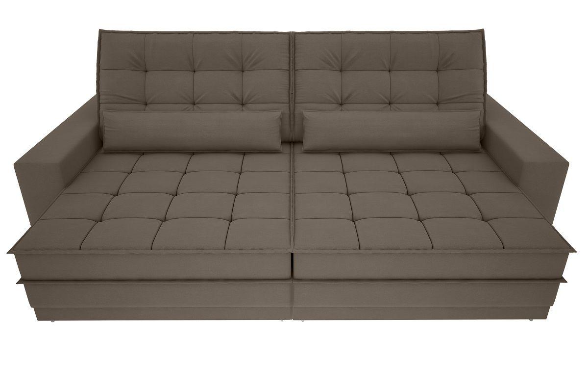Sofá Silver 2,40m Retrátil e Reclinável Velosuede Marrom - NETSOFAS