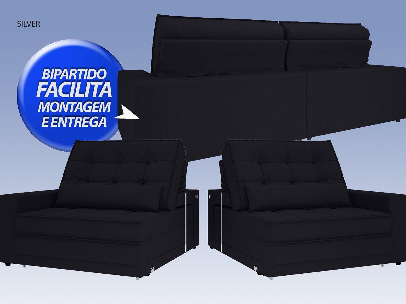 Sofá Silver 2,40m Retrátil e Reclinável Velosuede Preto - NETSOFAS