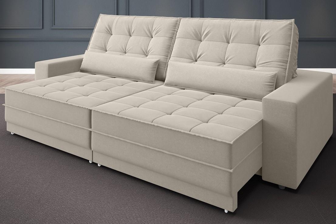 Sofá Silver 2,60m Retrátil e Reclinável Velosuede Areia - NETSOFAS