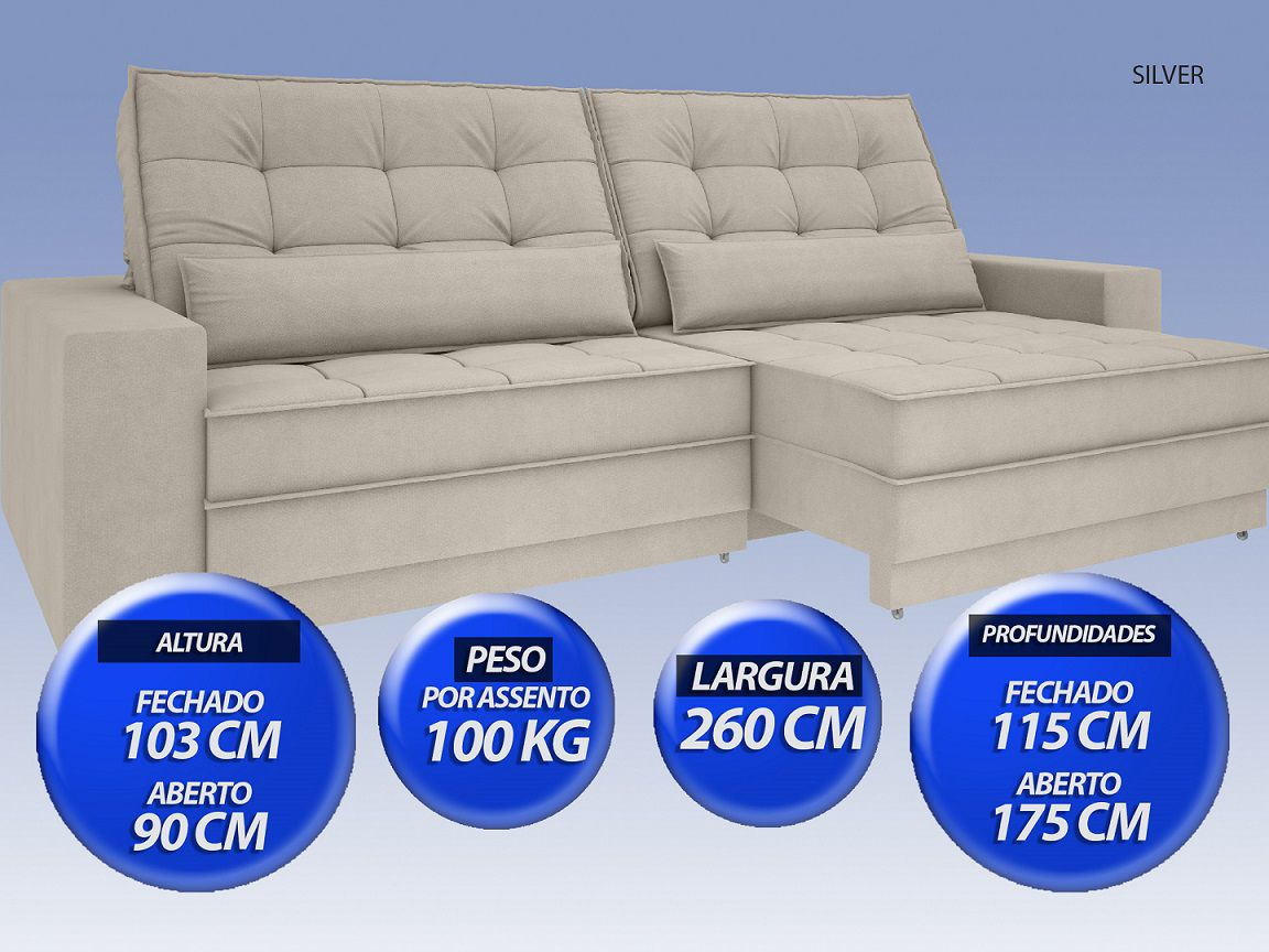 Sofá Silver 2,60m Retrátil e Reclinável Velosuede Areia - NETSOFAS  - NETSOFÁS