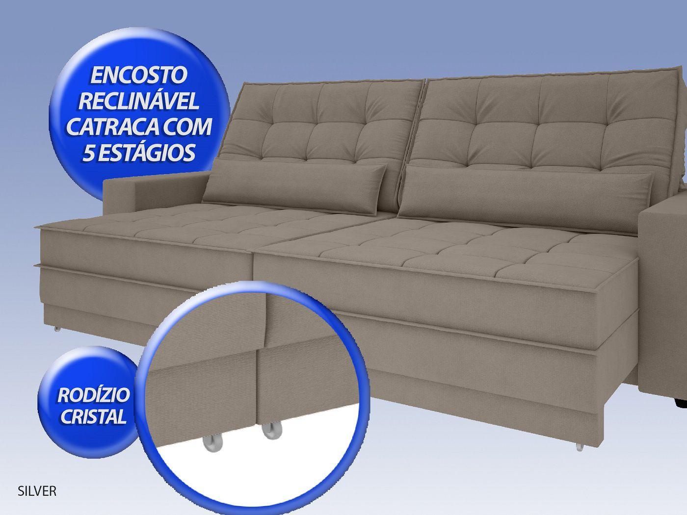 Sofá Silver 2,60m Retrátil e Reclinável Velosuede Bege - NETSOFAS