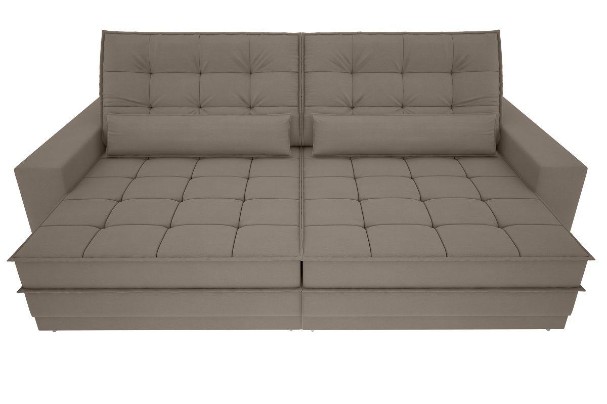 Sofá Silver 2,60m Retrátil e Reclinável Velosuede Bege - NETSOFAS  - NETSOFÁS