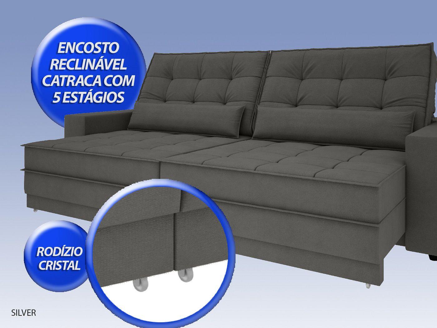 Sofá Silver 2,60m Retrátil e Reclinável  Velosuede Cinza - NETSOFAS