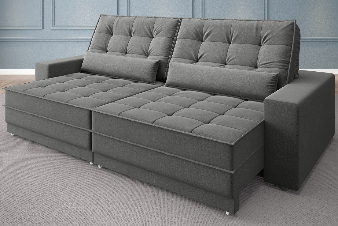 Sofá Silver 2,60m Retrátil e Reclinável  Velosuede Grafite - NETSOFAS