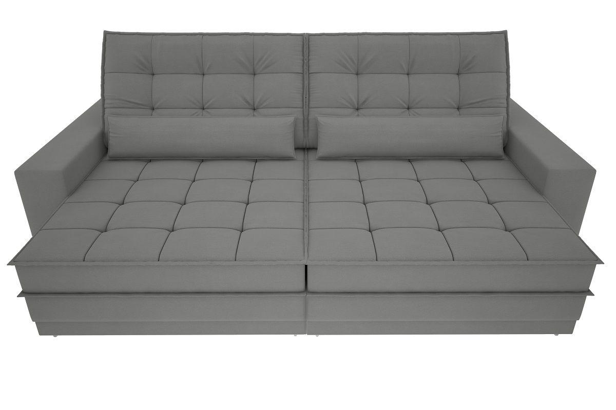 Sofá Silver 2,60m Retrátil e Reclinável  Velosuede Grafite - NETSOFAS  - NETSOFÁS