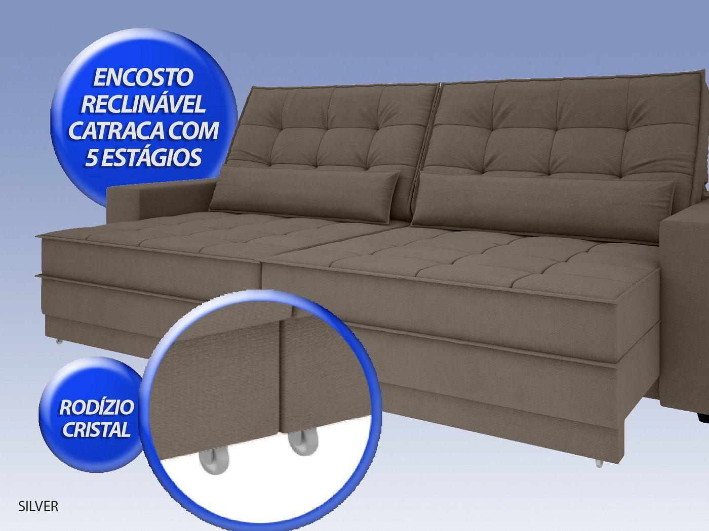 Sofá Silver 2,60m Retrátil e Reclinável Velosuede Marrom - NETSOFAS  - NETSOFÁS