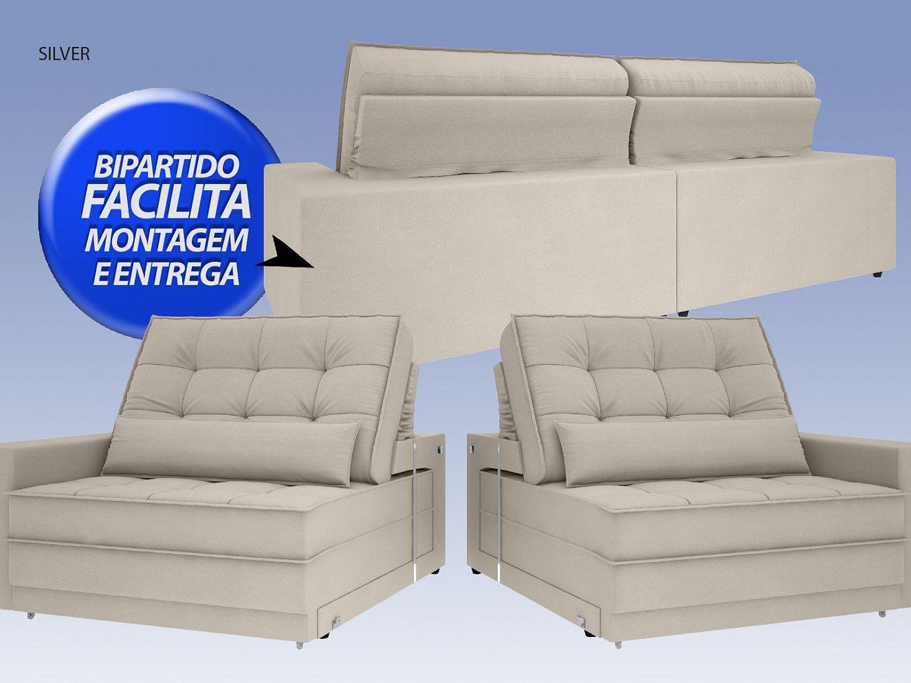Sofá Silver 2,80m Retrátil e Reclinável Velosuede Areia - NETSOFAS