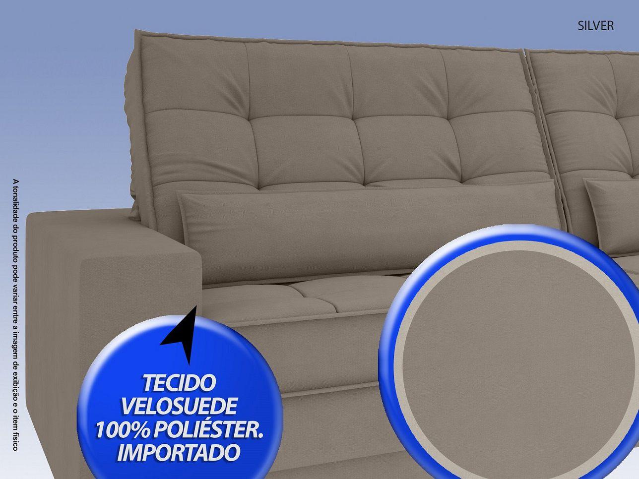 Sofá Silver 2,80m Retrátil e Reclinável Velosuede Bege - NETSOFAS