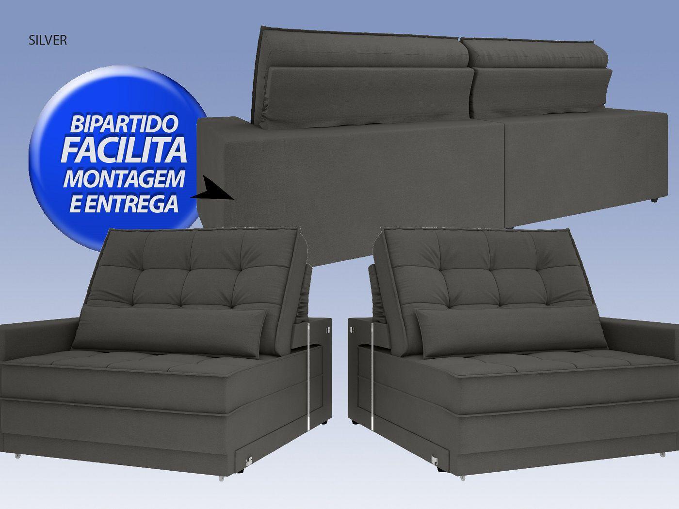 Sofá Silver 2,80m Retrátil e Reclinável Velosuede Cinza - NETSOFAS  - NETSOFÁS