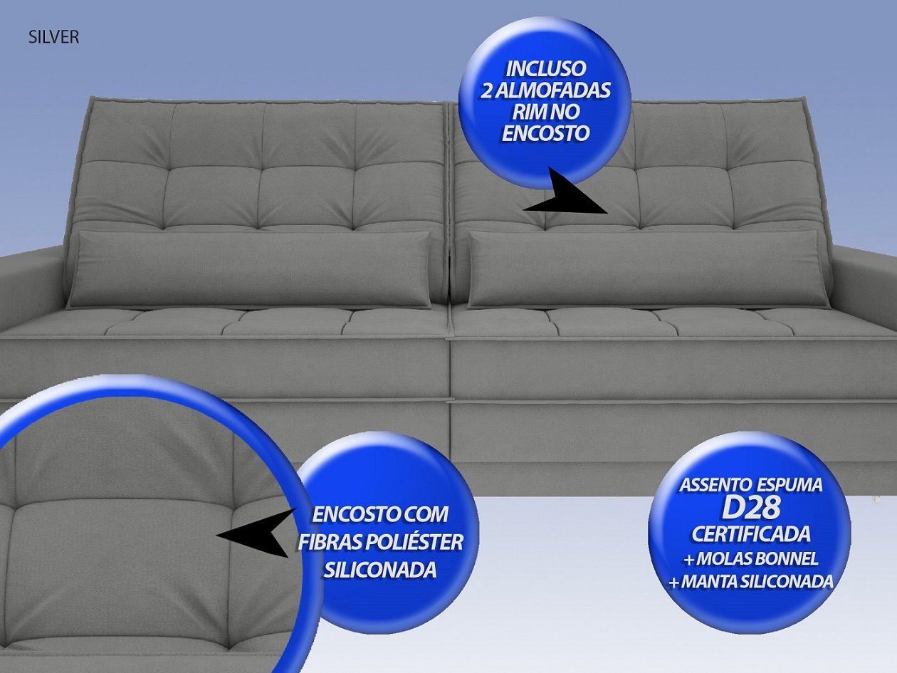 Sofá Silver 2,80m Retrátil e Reclinável Velosuede Grafite - NETSOFAS  - NETSOFÁS