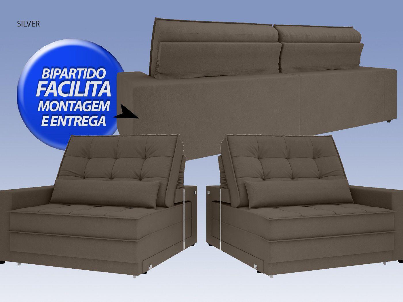 Sofá Silver 2,80m Retrátil e Reclinável Velosuede Marrom - NETSOFAS