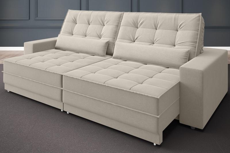 Sofá Silver 2,80m Retrátil e Reclinável Velosuede - NETSOFAS