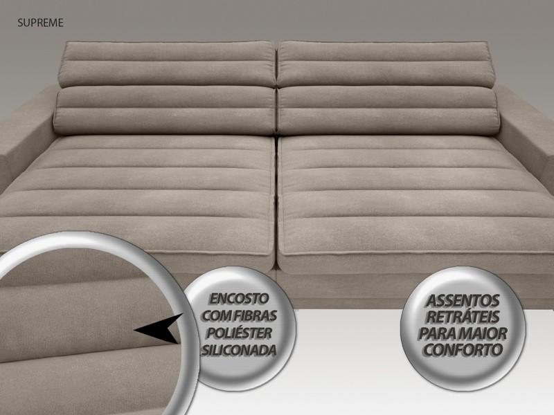 Sofá Supreme 2,10m Assento Retrátil e Reclinável Velosuede Bege - NETSOFAS