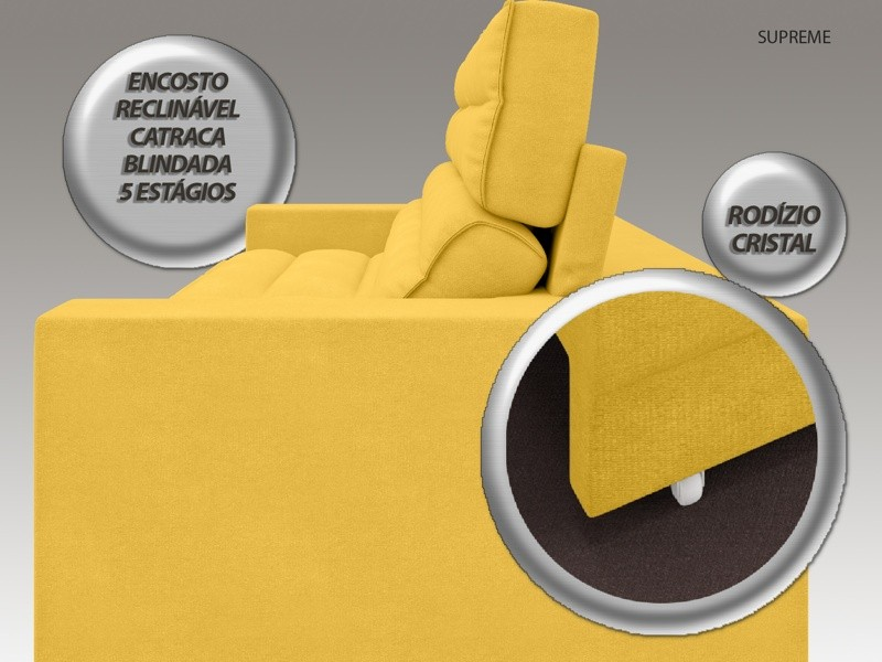 Sofá Supreme 2,10m Assento Retrátil e Reclinável Velosuede Canário - NETSOFAS