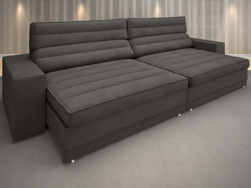 Sofá Supreme 2,10m Assento Retrátil e Reclinável Velosuede Cinza - NETSOFAS