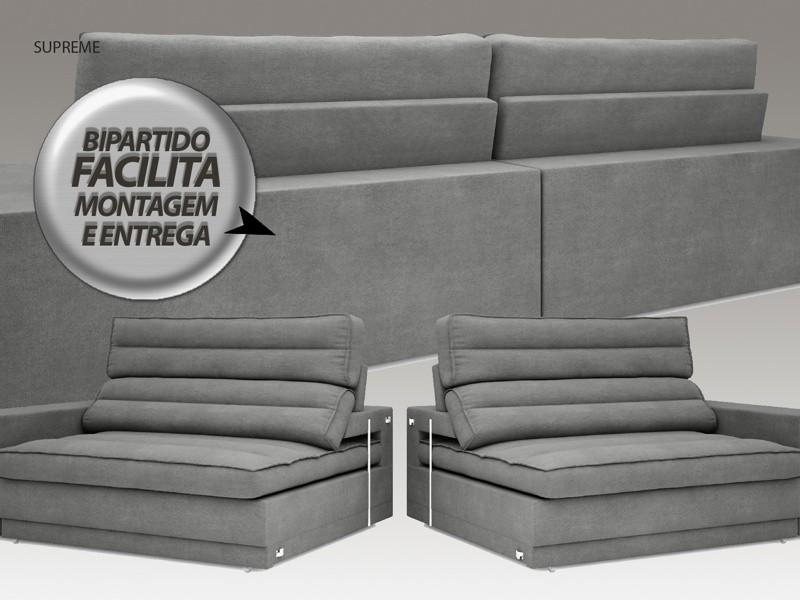 Sofá Supreme 2,10m Assento Retrátil e Reclinável Velosuede Grafite - NETSOFAS  - NETSOFÁS