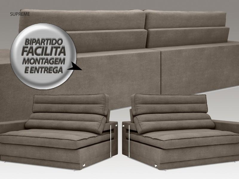 Sofá Supreme 2,10m Assento Retrátil e Reclinável Velosuede Marrom - NETSOFAS