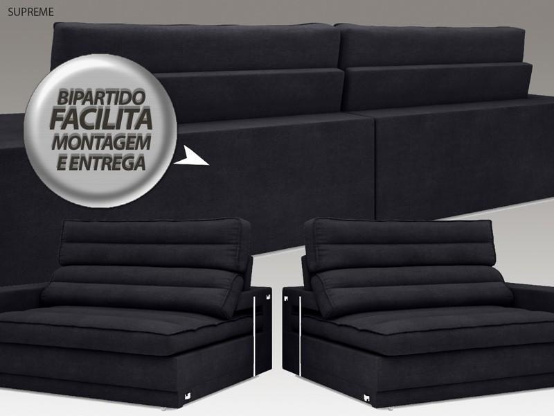 Sofá Supreme 2,10m Assento Retrátil e Reclinável Velosuede Preto - NETSOFAS