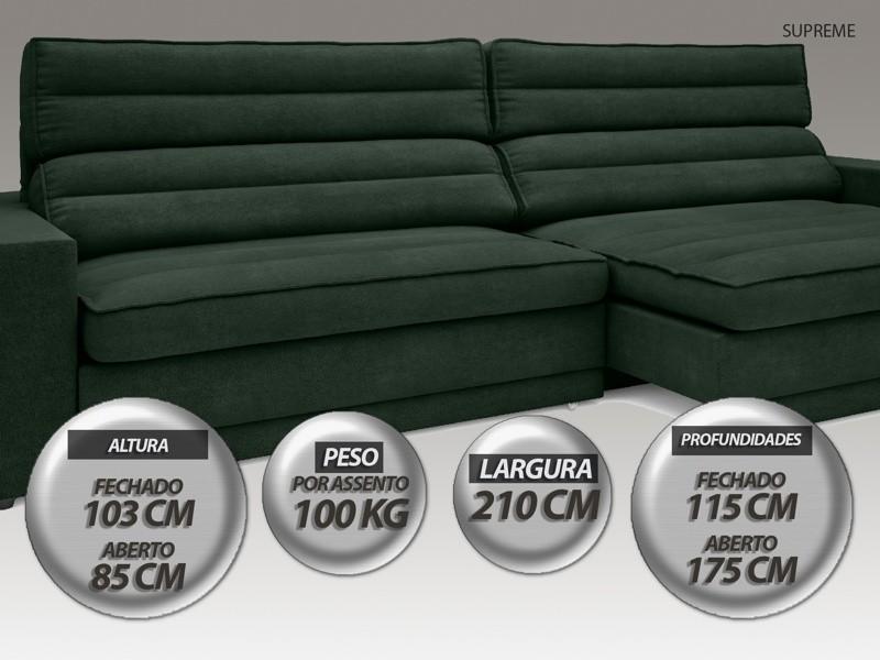 Sofá Supreme 2,10m Assento Retrátil e Reclinável Velosuede Verde - NETSOFAS