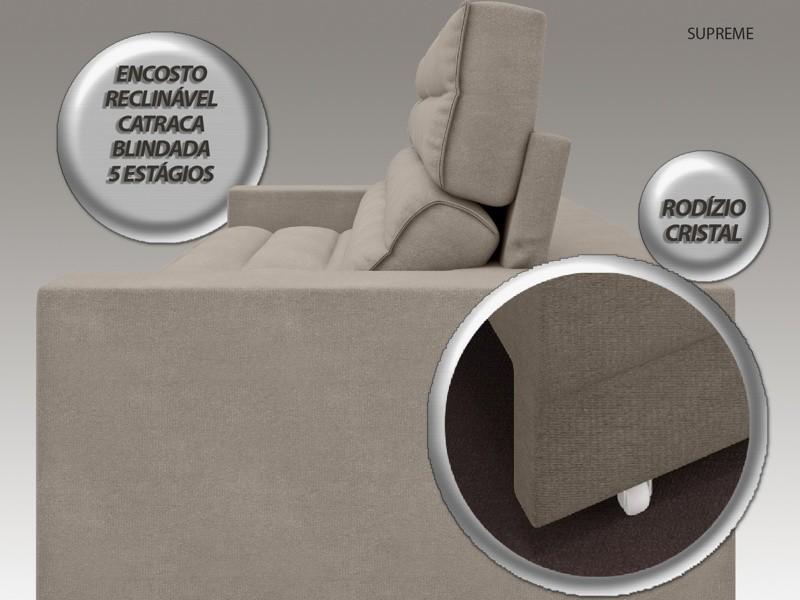 Sofá Supreme 2,30m Assento Retrátil e Reclinável Velosuede Bege - NETSOFAS  - NETSOFÁS