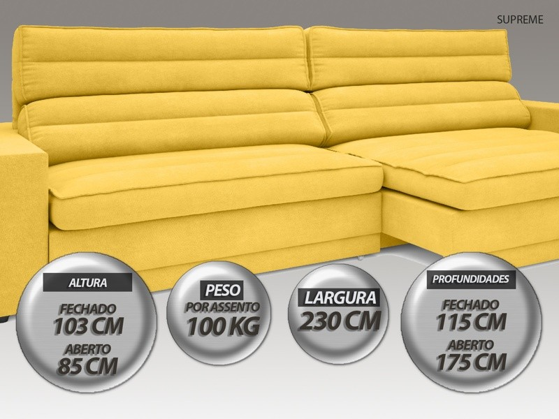 Sofá Supreme 2,30m Assento Retrátil e Reclinável Velosuede Canário - NETSOFAS  - NETSOFÁS