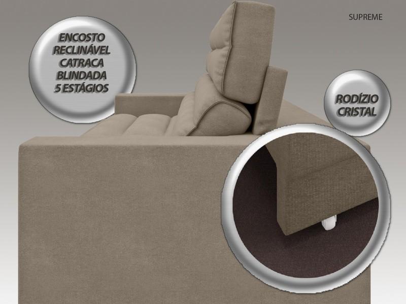 Sofá Supreme 2,30m Assento Retrátil e Reclinável Velosuede Capuccino - NETSOFAS  - NETSOFÁS