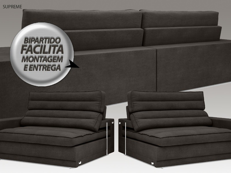 Sofá Supreme 2,30m Assento Retrátil e Reclinável Velosuede Chocolate - NETSOFAS