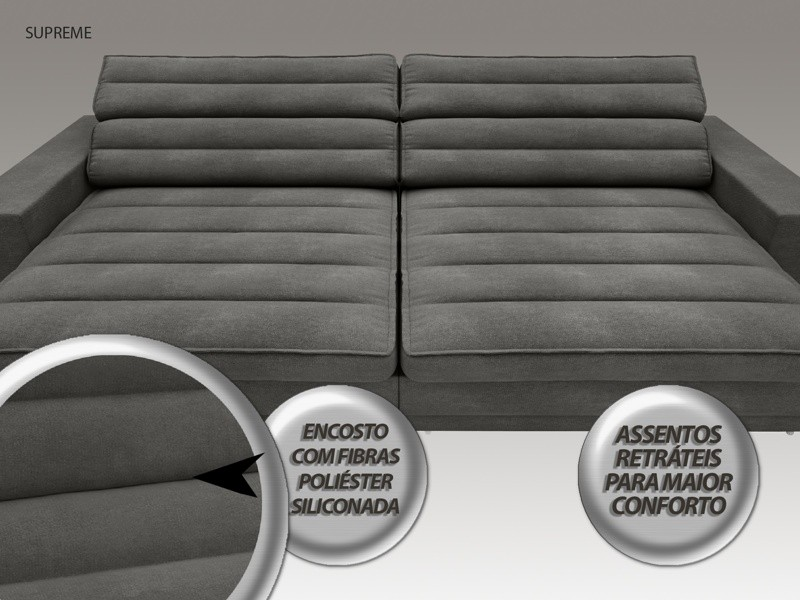 Sofá Supreme 2,30m Assento Retrátil e Reclinável Velosuede Cinza - NETSOFAS
