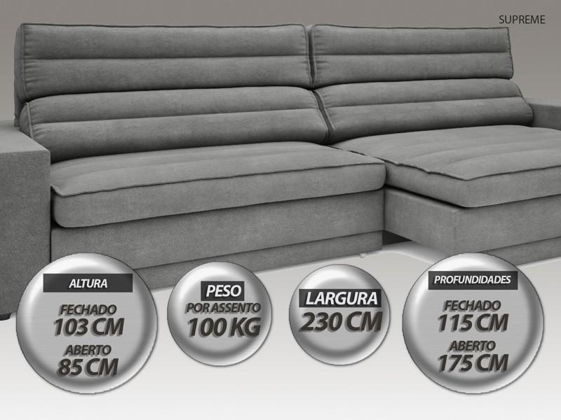 Sofá Supreme 2,30m Assento Retrátil e Reclinável Velosuede Grafite - NETSOFAS
