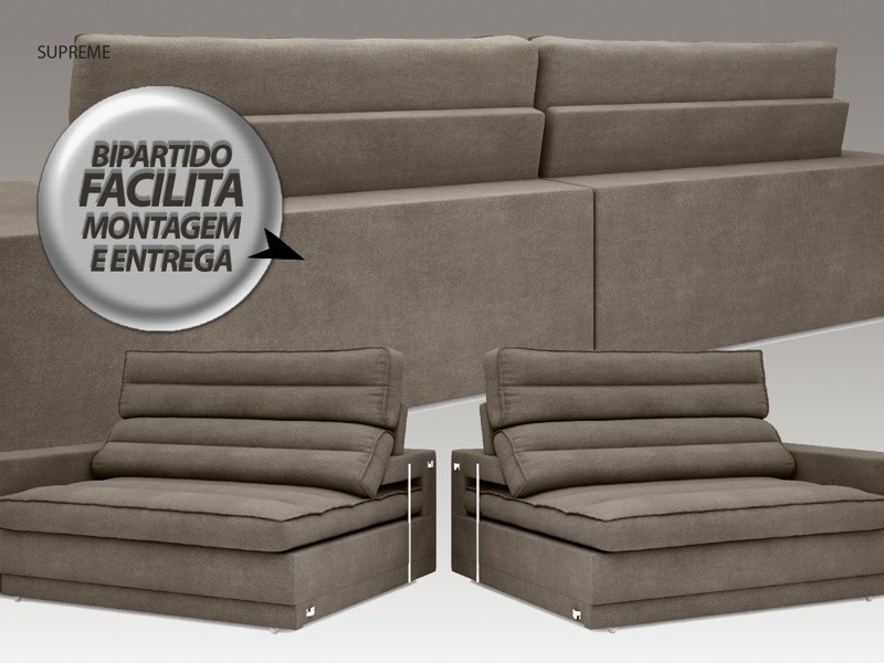Sofá Supreme 2,30m Assento Retrátil e Reclinável Velosuede Marrom - NETSOFAS
