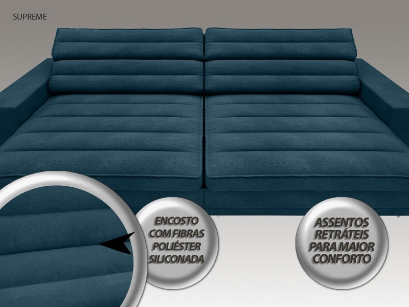 Sofá Supreme 2,30m Assento Retrátil e Reclinável Velosuede Royal - NETSOFAS
