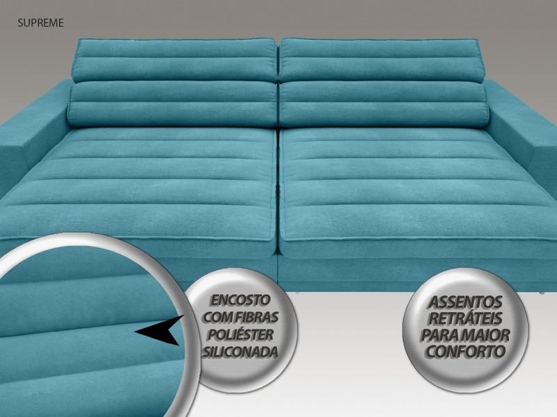 Sofá Supreme 2,30m Assento Retrátil e Reclinável Velosuede Turquesa - NETSOFAS