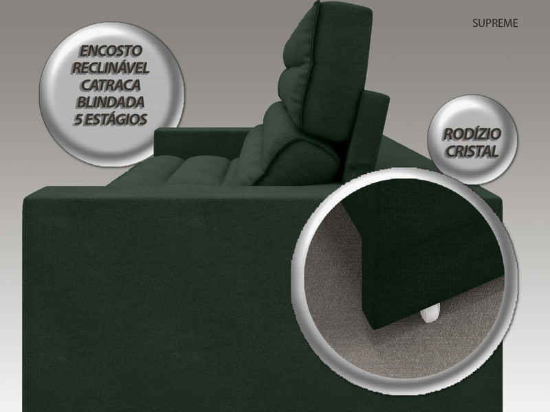 Sofá Supreme 2,30m Assento Retrátil e Reclinável Velosuede Verde - NETSOFAS