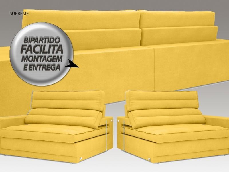 Sofá Supreme 2,50m Assento Retrátil e Reclinável Velosuede Canário - NETSOFAS