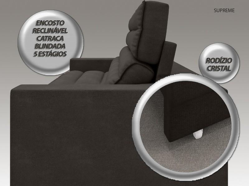 Sofá Supreme 2,50m Assento Retrátil e Reclinável Velosuede Chocolate - NETSOFAS  - NETSOFÁS