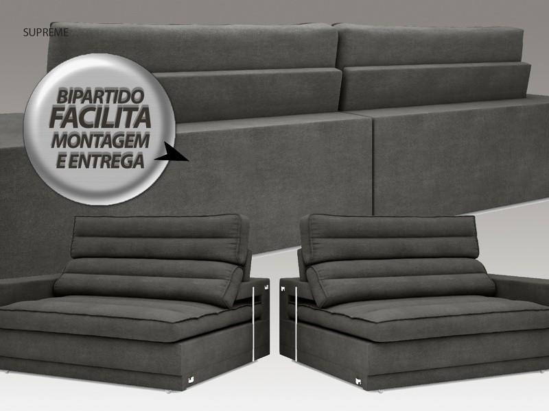 Sofá Supreme 2,50m Assento Retrátil e Reclinável Velosuede Cinza - NETSOFAS