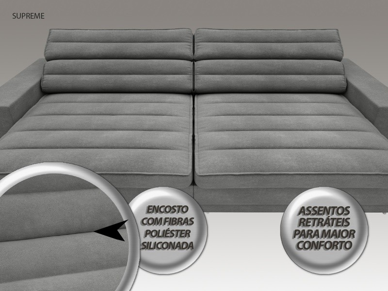 Sofá Supreme 2,50m Assento Retrátil e Reclinável Velosuede Grafite - NETSOFAS  - NETSOFÁS