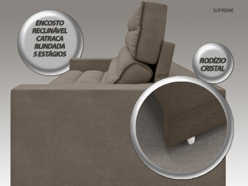 Sofá Supreme 2,50m Assento Retrátil e Reclinável Velosuede Marrom - NETSOFAS